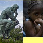 """Rodin's """"The Thinker"""" Compared To Little Girl With Same Upper Body Pose"""
